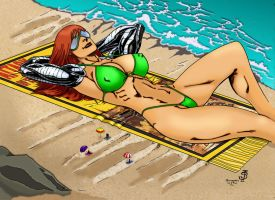 Giantess Cassie at the Beach Color by Giantess-Cassie