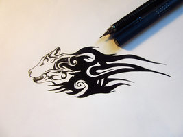 Tribal Wolf Design by Juh1z