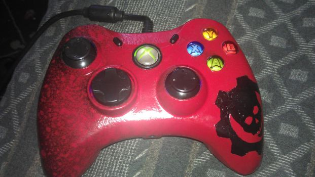 Custom Gears of War Themed Xbox Controller by dmillersquared