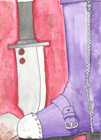 This is a painting of a boot and a knife by death-g-reaper