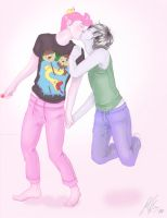 Prince Gumball and Marshall Lee Kiss by JenelleArt