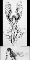 Angel Tattoo Sketches - 2 of 5 by psionicbird