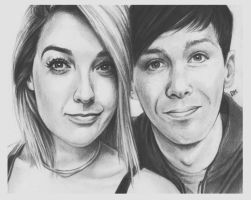 Day13 - Draw Dan and/or Phil with another youtuber by DraconaMalfoy