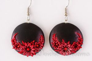 Dark Hearts Goth Flower Embroidery Earrings by DeidreDreams