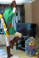 Wii Fit Link - gif by TheEmpiresGuild
