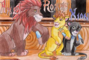 Axel, Roxas and Xion lions by SailorMiha