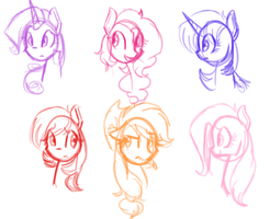 Mane Six Headshots by Artizay