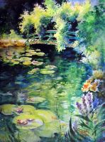 Monet's Lily Pond by TomLynchWatercolors