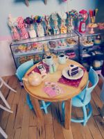 1/6 cafe table in the new diorama by LittlestSweetShop
