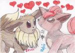 Eevee and Vulpix Love by Snapefan83