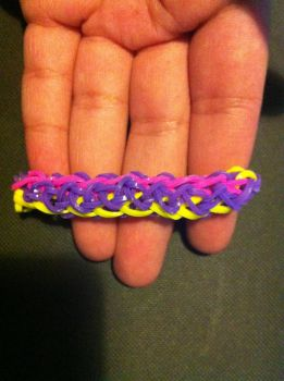 Purple, pink and yellow loom bracelet by mket98