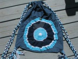 Crocheted Blue and Jean bag by sarlaz