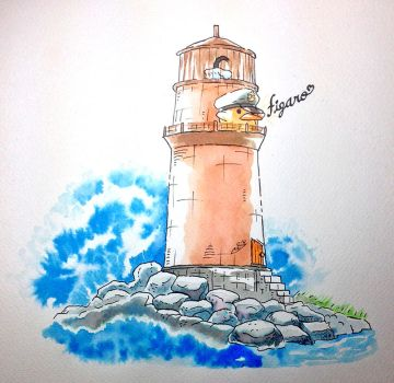 Inktober: Figaro's Lighthouse by HipsterAnt