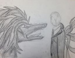 SCP-682 vs. The Slender Man by Enigma-Cat