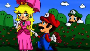 Mario and Peach happy time by kaeveris