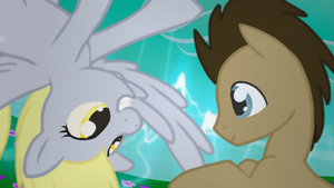 Doctor Whooves and Derpy Hooves Wallapaper by olivebates