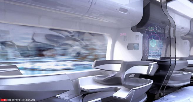 Futuristic Train Interior Design by EdonGuraziu