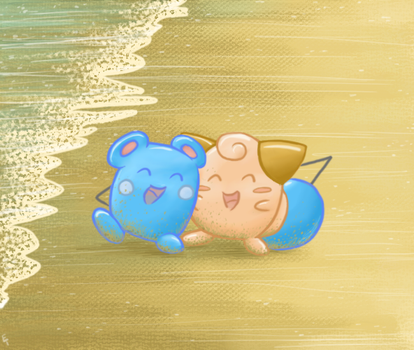 Pokecember Day 18: Azurill and Cleffa by Between-the-Stars