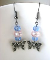 Pink and blue butterfly earrings by faranway