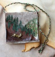 Painted elk and forest leather pouch by lupagreenwolf