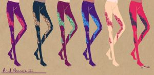 Tights+Stockings Designs: Acid Peacock III by SapphireKat