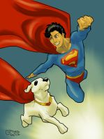 Superboy and Krypto by guinnessyde
