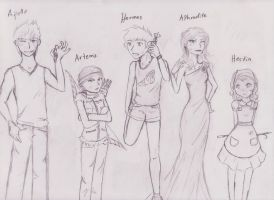 Percy Jackson greek gods by littlegardengnome