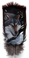 Wolf Head on Feather - Acrylic by lenzamoon