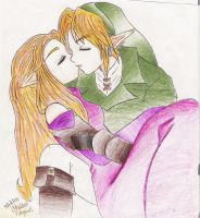 Zelda: Link And Zelda Kiss by Kayaticka