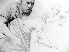 Dominic Toretto and Brian O'Connor WIP 30 % by Sasoriakasuna1