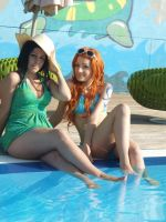 Nami and Robin,summer version cosplay,One Piece by Mellorineeee