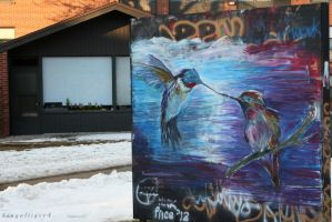 Humming Birds Graffiti Wall by BengalTiger4