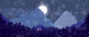 PS Test: Flat Landscape : Blue tones + Snow + Moon by Noeth