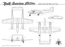 North American A-51 ''Stallion'' plan by Bispro