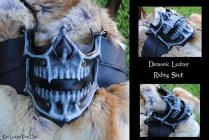 Leather Demonic Skull Motorcycle Riding Mask by Epic-Leather