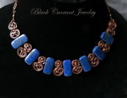 Natural Lapis Lasuli and Copper Necklace by blackcurrantjewelry