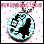 Drink Me Alice Wooden Charm by SugarAndSpiceDIY