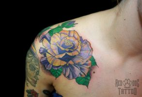Traditional Rose Tattoo by Reddogtattoo