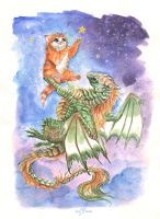 Dragon and kitty by AlviaAlcedo