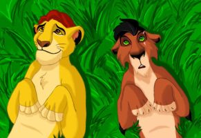 Brothers - Mufasa and Scar by Taniadragon