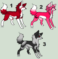 3 Exotic Wolf Adoptable FREE by blackyball22
