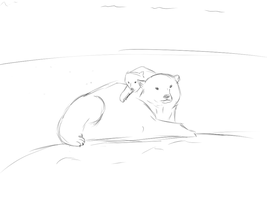 Polar Bear Mother and Her Cub +Sketch+ by Stressed-Panda