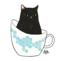 Black Cat in a Teacup by TwoBlackCats