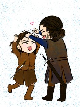 Playing with Hair: Arya and Jon by JoyJuhee