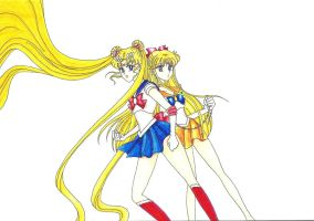Sailor Moon and Sailor Venus in color by cflynn87