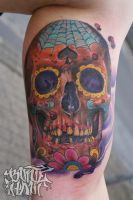 sugar skull tattoo by graynd