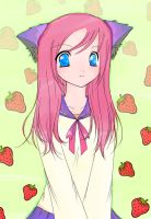 -:Strawberry Neko:- by ongaku-suki
