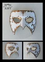 White and Gold Venetian Style Mardi Gras Mask by nondecaf