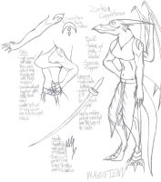 Character sheet pencil sketch by dragonfiend