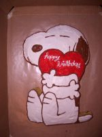 Snoopy Cake by iliketodoodle